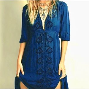 Free People 3/4 Sleeve Navy Black Embroidered Maxi